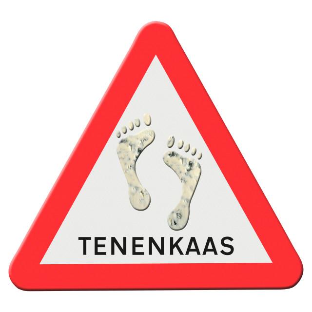 """""""Illustratie - Tenenkaas Waarschuwingsbord Animatie van de dansende voeten beschikbaar. Studies hebben aangetoond dat de geur van voeten kan worden toegeschreven aan een aantal bacteriën, waarbij stafylokokken de belangrijkste boosdoener zijn. Er wordt be"""" stock image"""