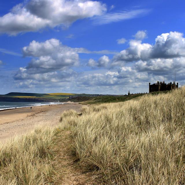 """Marske beach & sand dunes, looking towards Saltburn. Spring 2020."" stock image"