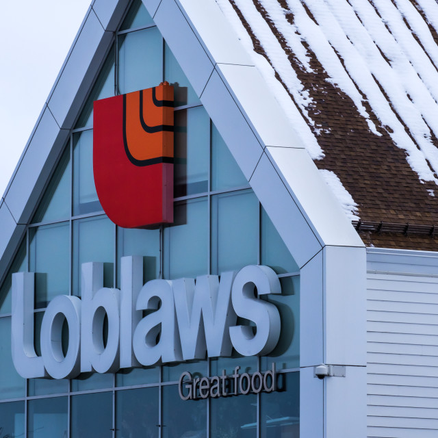"""""""Loblaws grocery store sign in Ottawa winter"""" stock image"""