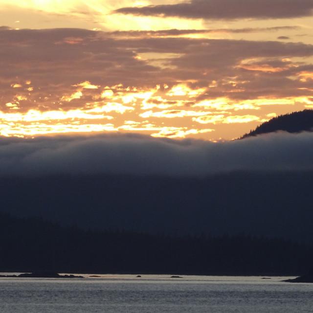 """Alaskan coast sunset, view towards Kosciusko or Prince of Wales"" stock image"