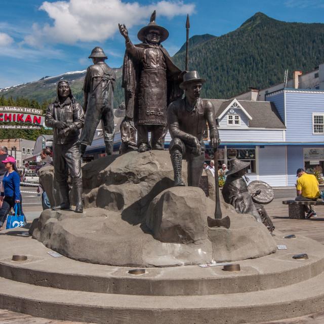 """Ketchikan, AK town monument"" stock image"