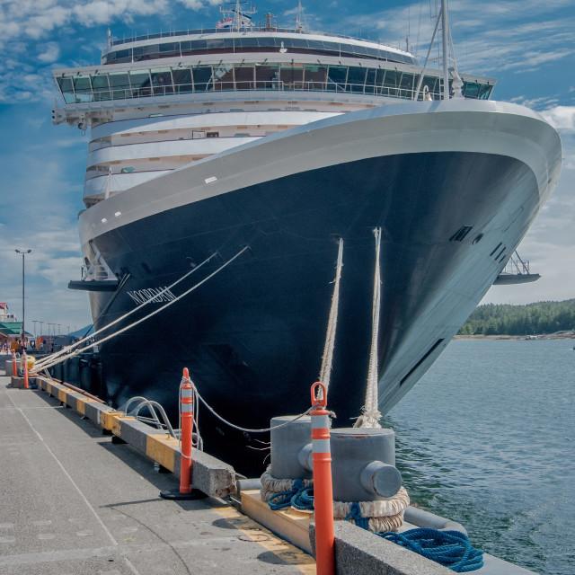 """Holland America Line's MS Noordam bow"" stock image"