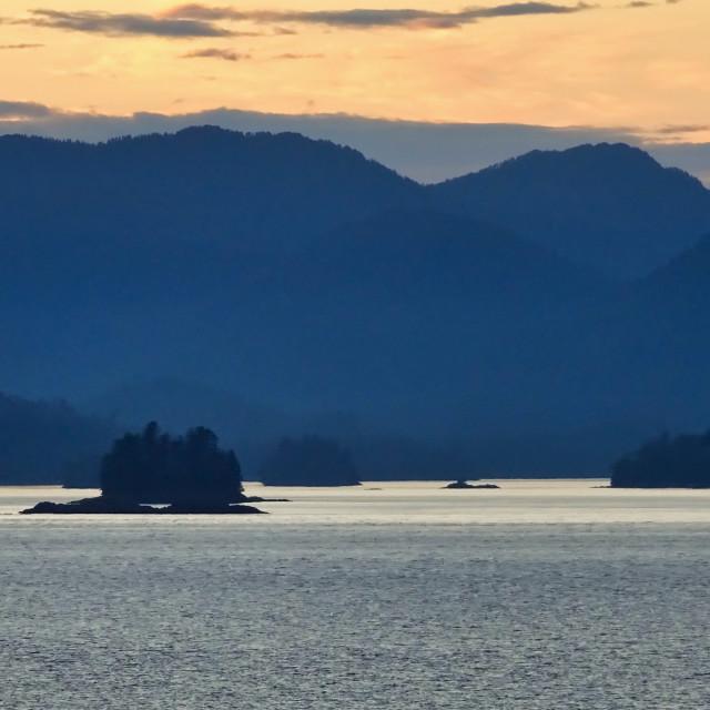 """Alaskan coast, twilight view towards Kosciusko or Prince of Wale"" stock image"