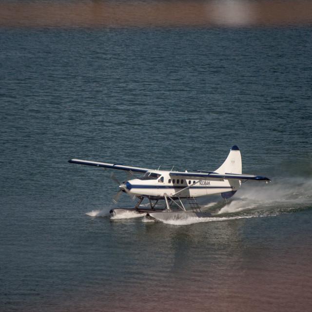"""Seaplane taxiing"" stock image"