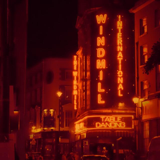 """Windmill St, Soho, London at Night"" stock image"