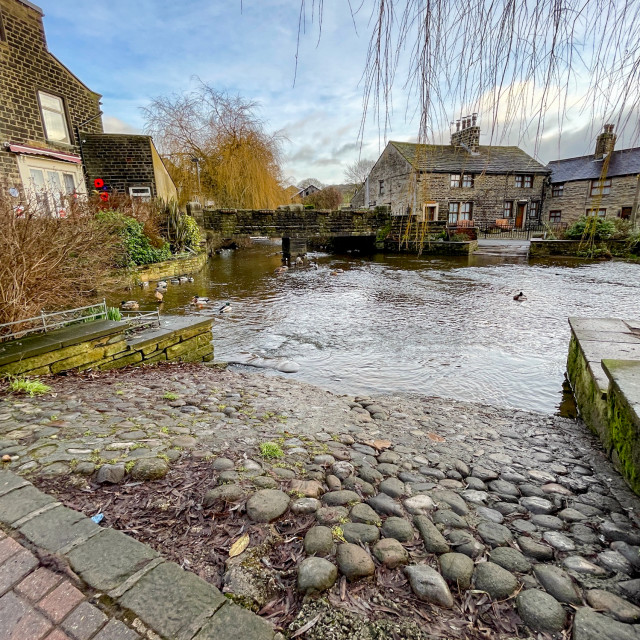 """""""Ford over The Beck, Silsden (Cobbydale)"""" stock image"""