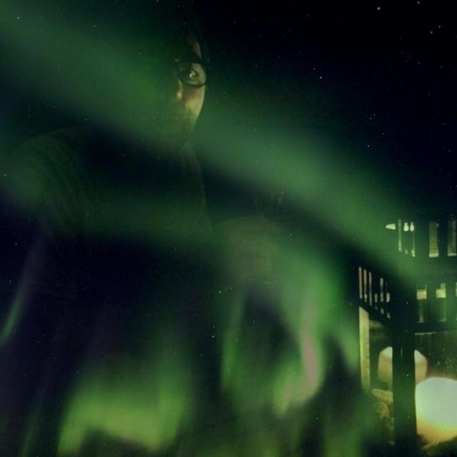 """Me & the 'lights'"" stock image"