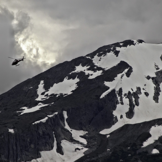 """""""Snowy mountain & helicopter"""" stock image"""