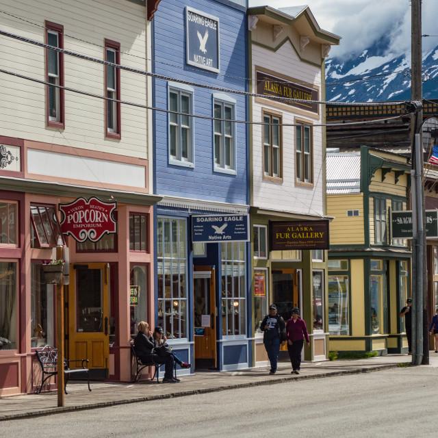 """Skagway, Alaska street scene"" stock image"