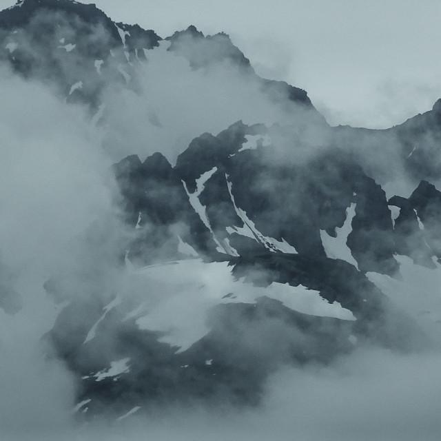 """Mountain peaks south of Turnagain Arm, Alaska"" stock image"