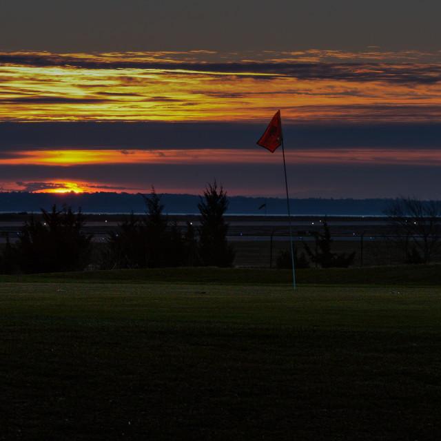"""Sunrise on the Course"" stock image"