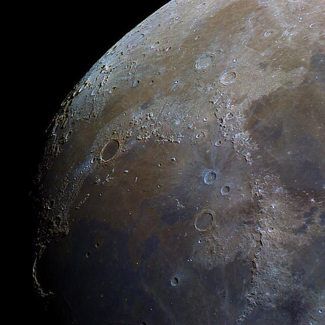 """Plato Crater and Mare Imbrium in Colour"" stock image"