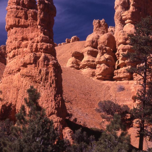 """Orange sandstone pillars"" stock image"
