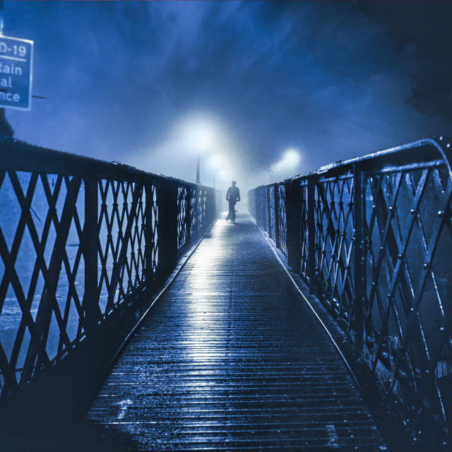 """A foggy Jesus Lock footbridge, Cambridge UK."" stock image"