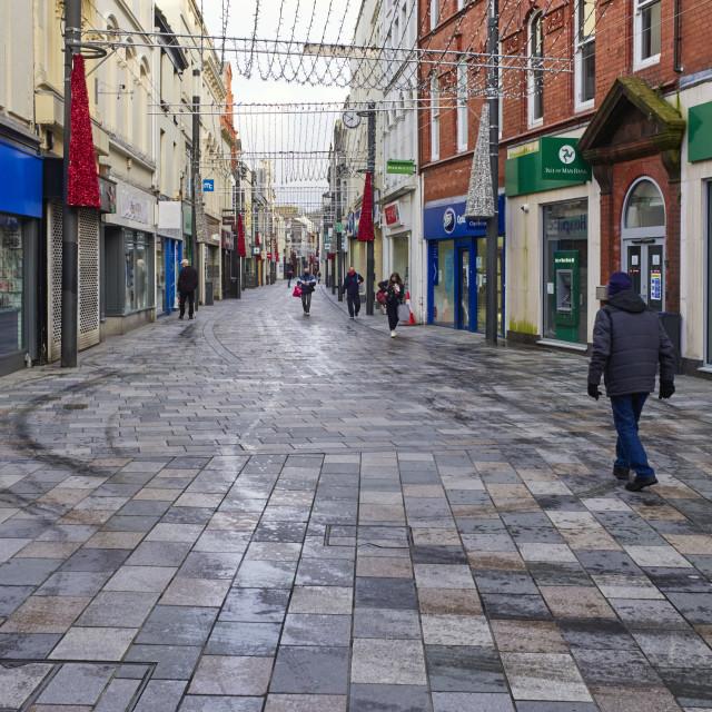 """""""Deserted Strand Street shopping area"""" stock image"""