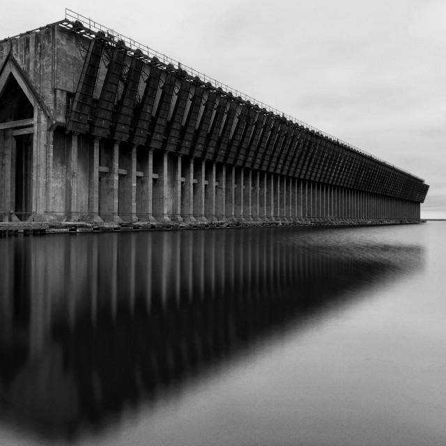 """Ore Dock Reflections #6"" stock image"