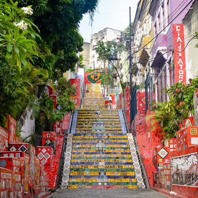 """""""Escadaria Selarón (Selaron Steps) in Rio de Janeiro, Brazil"""" stock image"""