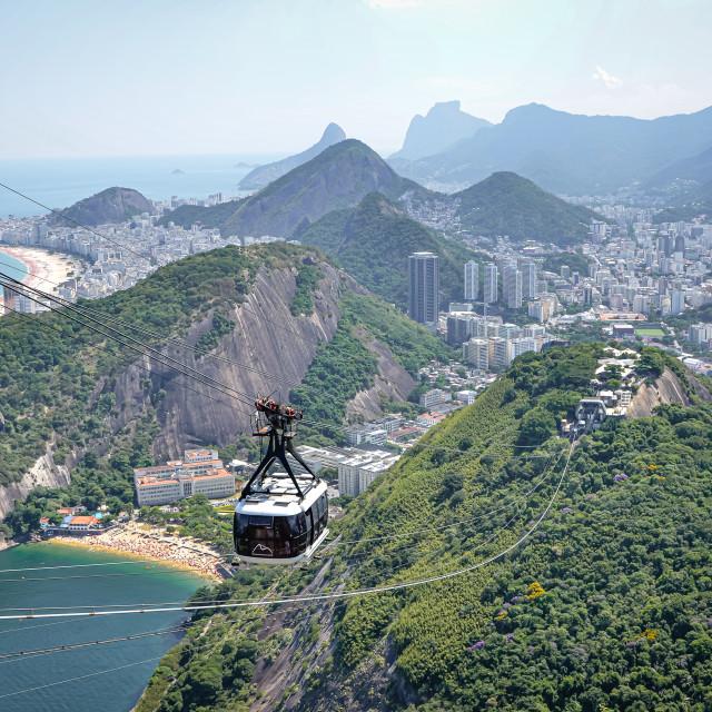 """Riding from Sugarloaf Mountain via cable car, Rio de Janeiro, Brazil"" stock image"