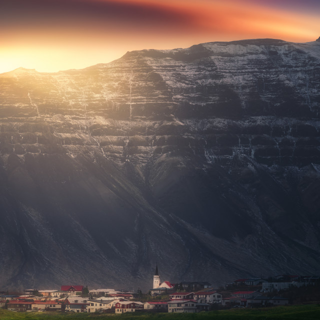 """Village under the mountain"" stock image"