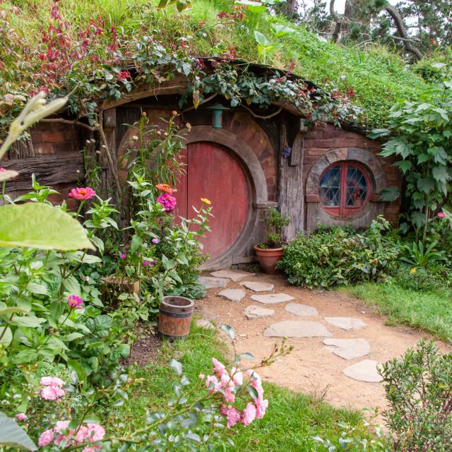 """""""Hobbit Hole, Hobbiton"""" stock image"""