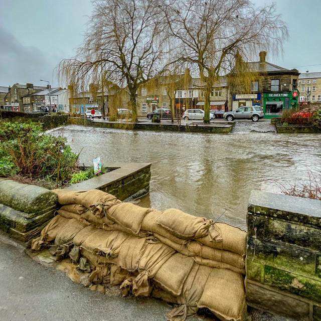 """Sandbags at Silsden Beck, Flood Preparations. Cobbydale."" stock image"