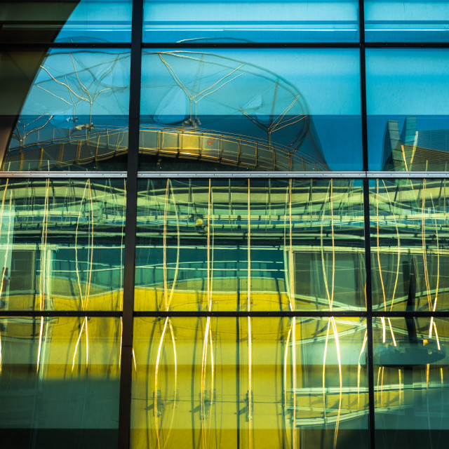 """""""""""Reflections Of A City"""" - Reflections of buildings on glass window"""" stock image"""