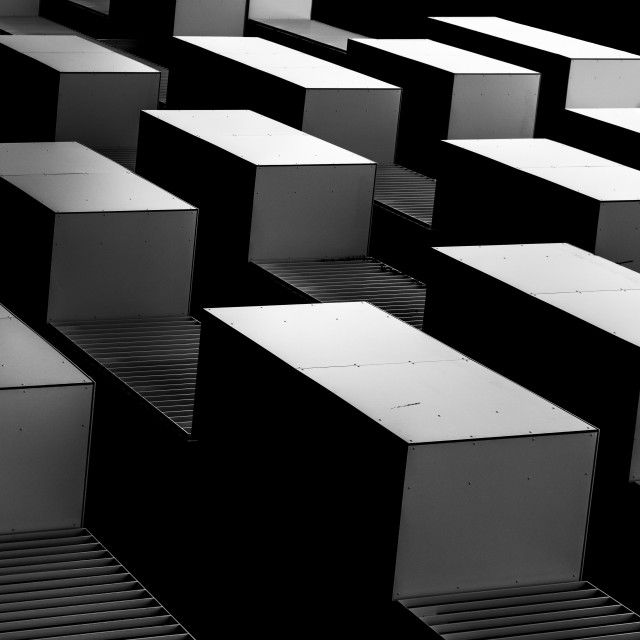 """""""""""Cubes"""" - Architectural abstract of facade of residential building"""" stock image"""
