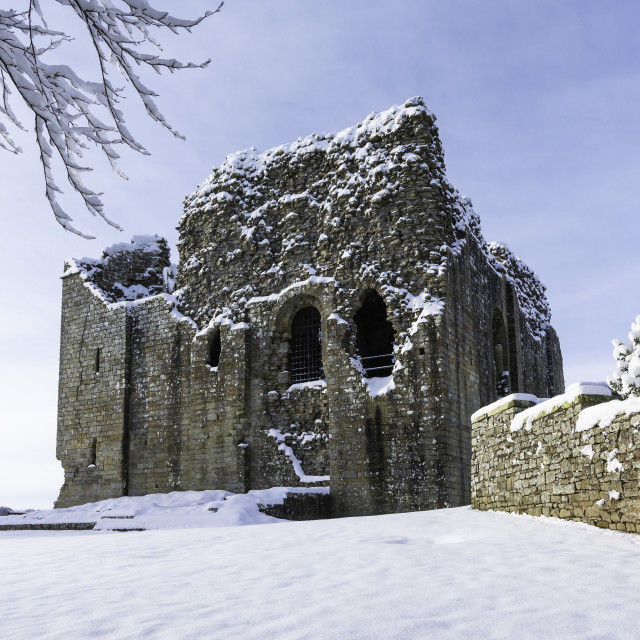 """""""Bowes Castle in the snow"""" stock image"""