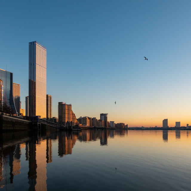 """""""Sunset over Canary Wharf"""" stock image"""