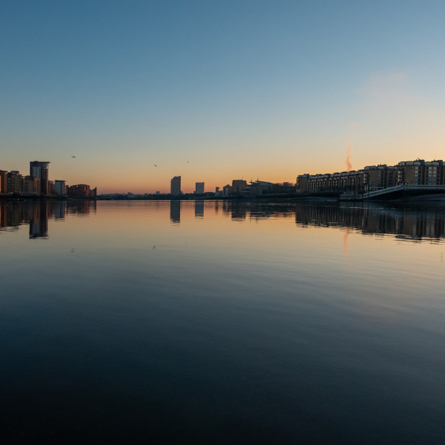 """""""Sunset over Isle of Dogs"""" stock image"""