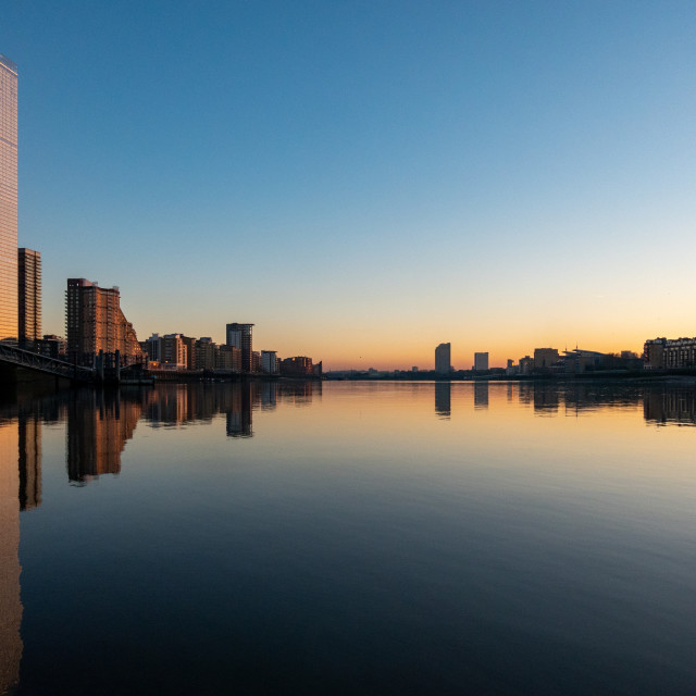 """""""Sunset over Canary Wharf and Isle of Dogs"""" stock image"""