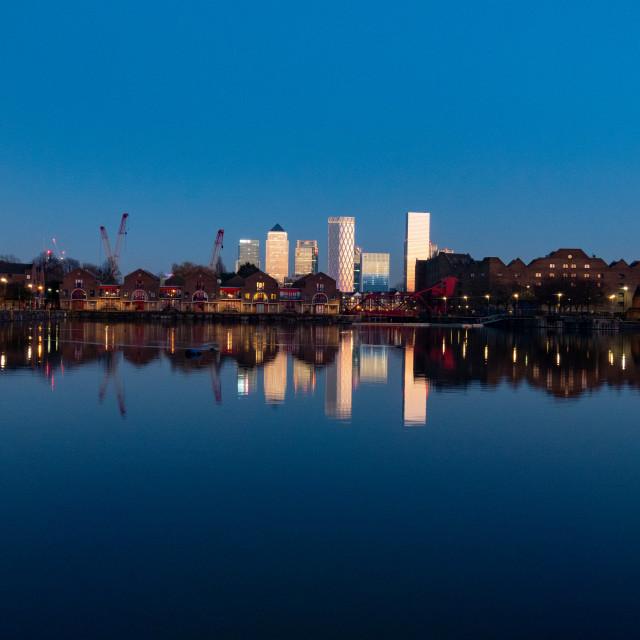 """Blue hour over Canary Wharf"" stock image"