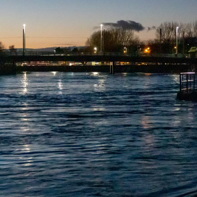 """Embankment at Night"" stock image"