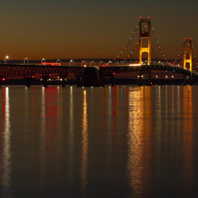"""""""Mackinaw bridge at dusk"""" stock image"""