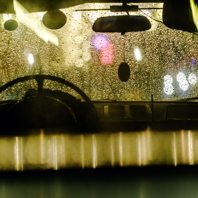 """""""Rainy day light reflections through the car glass windshield"""" stock image"""