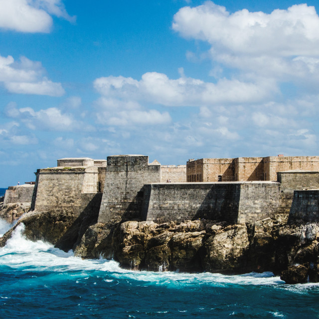 """""""Morro castle, Havana, on a clear day splashed by waves"""" stock image"""
