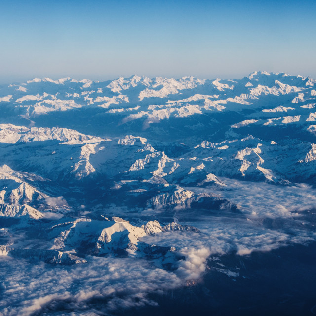 """""""Swiss Alps winter aerial view"""" stock image"""
