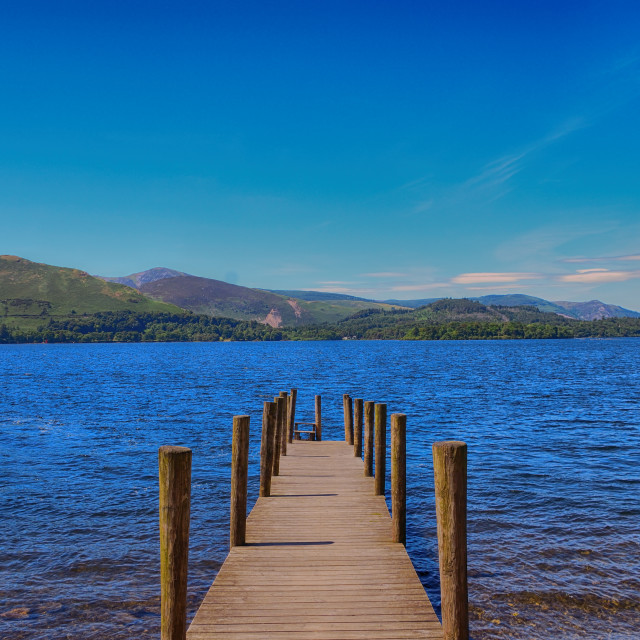 """Jetty at Derwent Water - Lake District Landscape"" stock image"