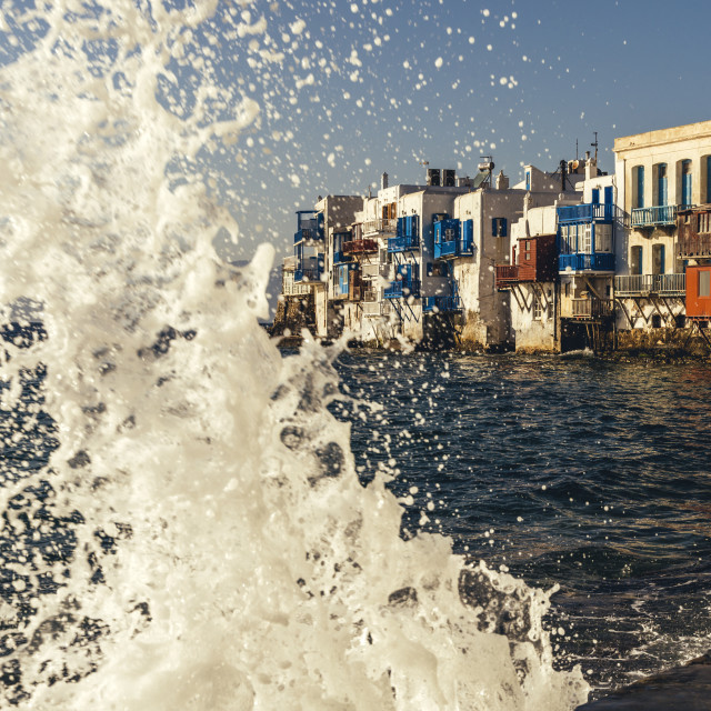 """""""Greek island of Mykonos, Little Venice old town shore white buildings and colorful terraces"""" stock image"""