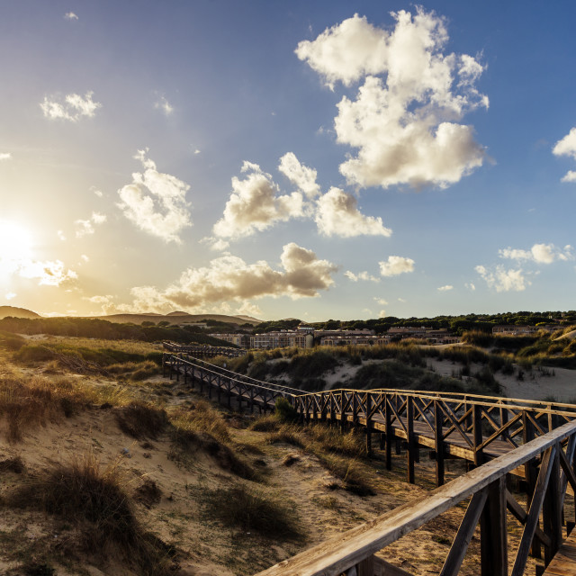 """""""Sun is breaking trough the cloudy sky over sand dunes seaside National park"""" stock image"""