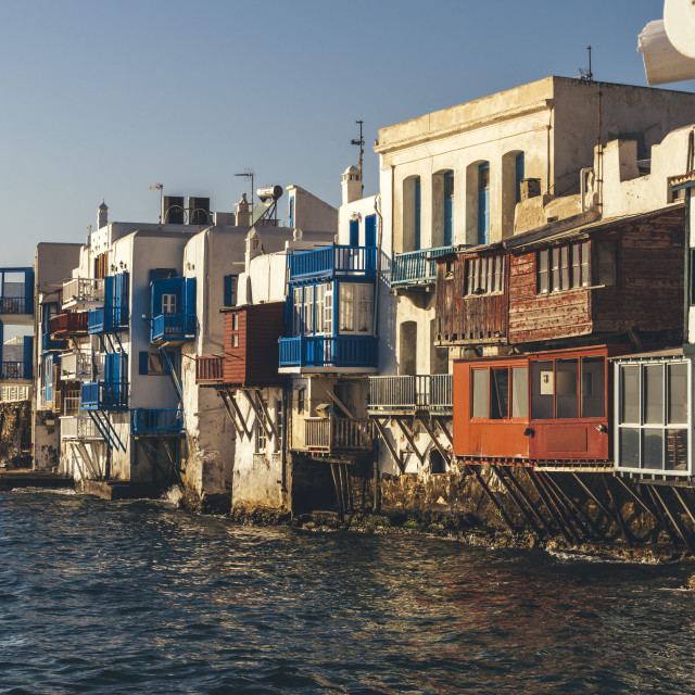 """""""Greek island of Mykonos, Little Venice old town shore white buildings and colorful terraces."""" stock image"""