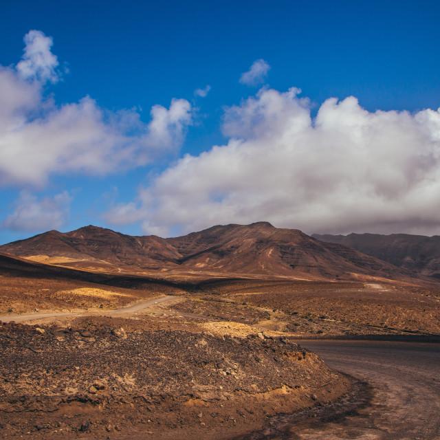 """""""Fuerteventura rocky desert landscape scenery"""" stock image"""