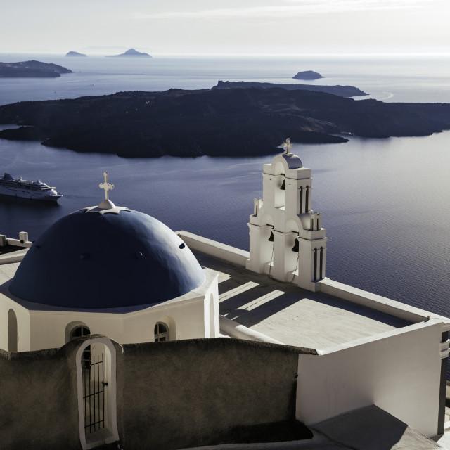"""Santorini church sea view"" stock image"