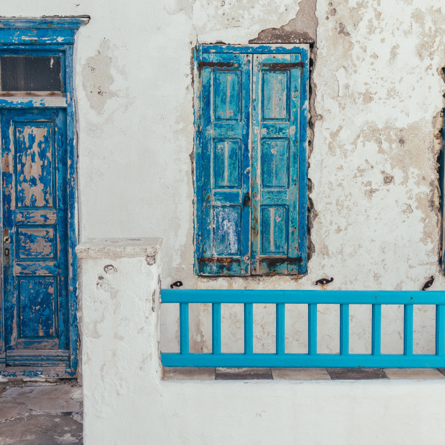 """""""Greek island of Mykonos traditional old house"""" stock image"""