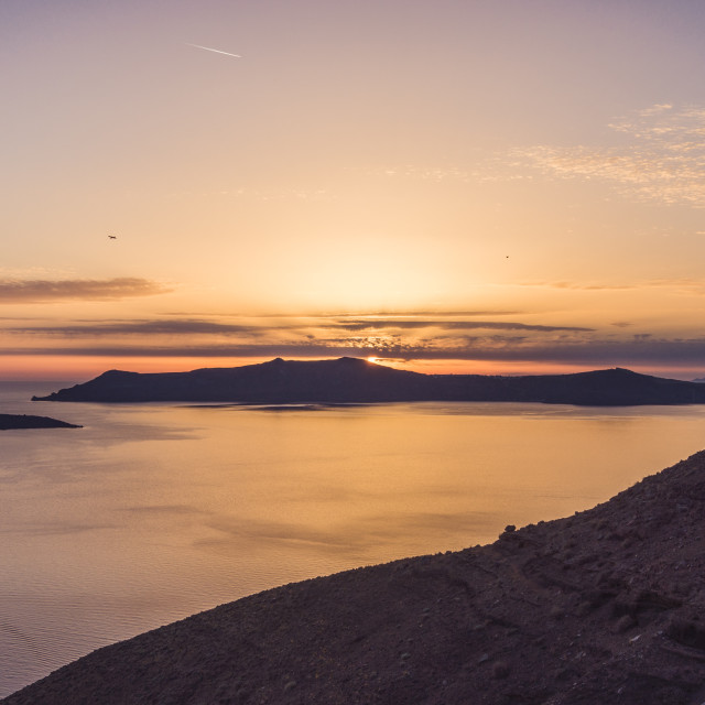 """""""The most popular sunset in the world on the Greek island of Santorini"""" stock image"""