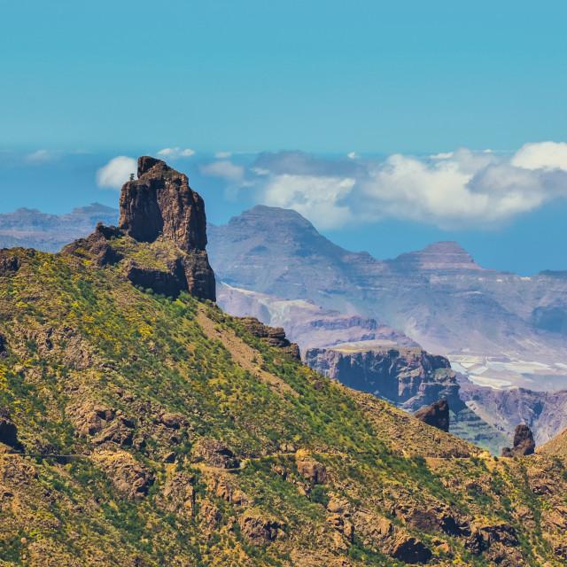 """View on caldera de Tejeda volcanic formation valley in Spain"" stock image"