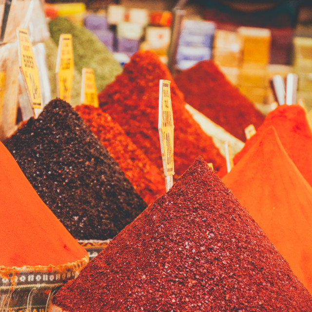 """""""Spice market in Istanbul with spices from all around the globe"""" stock image"""
