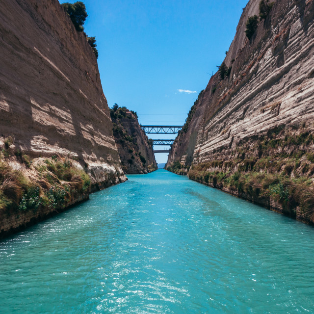 """""""Blue sky, turquoise sea and cliffs of Corinth canal, Greece"""" stock image"""
