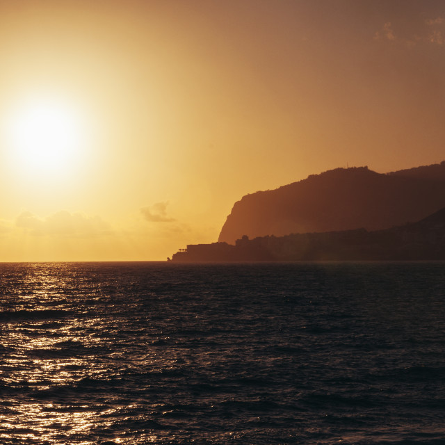 """""""Sunset viewed from a cruise ship"""" stock image"""