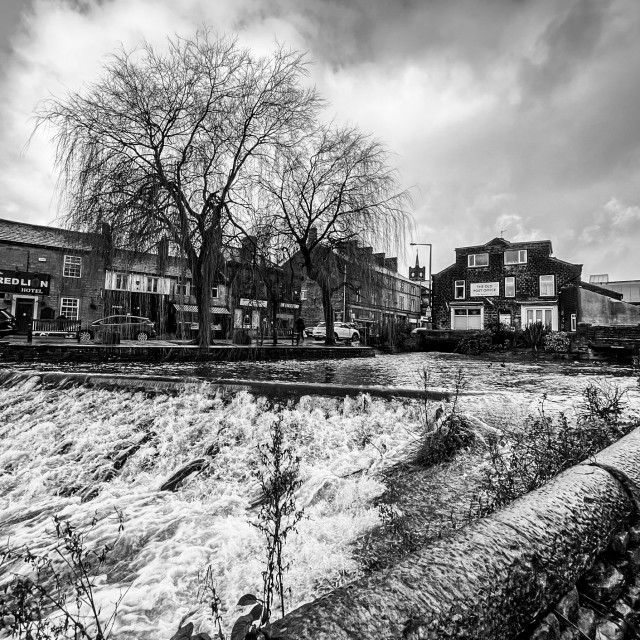 """""""The Beck, Silsden (Cobbydale) Yorkshire, England. After heavy rainfall. Photographed 21st January 2021"""" stock image"""